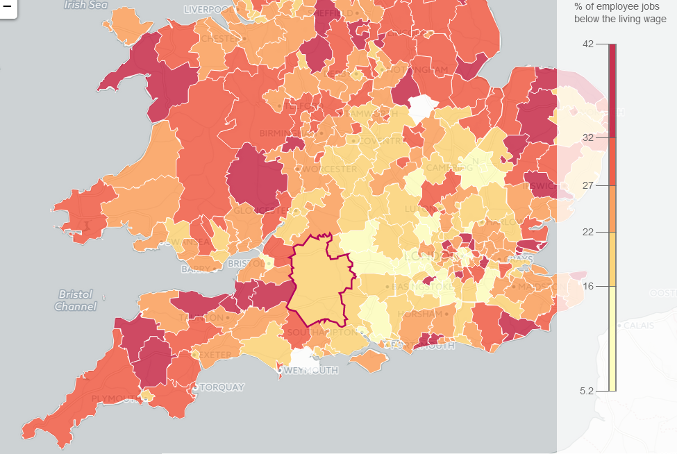 How many jobs are paid less than the living wage in your area